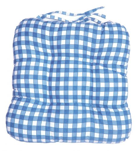 BLUE COLOUR CHECK KITCHEN DINING CHAIR SEAT PAD